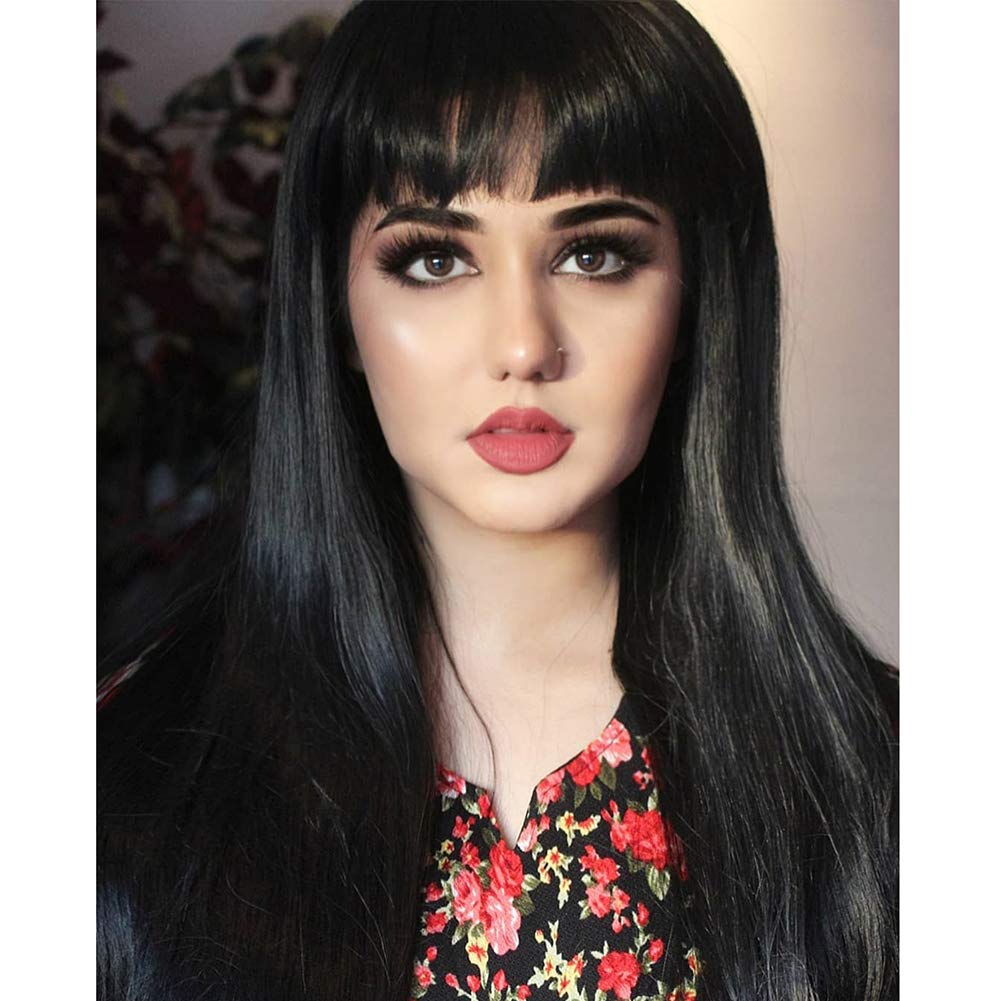 Morvally Women's 26'' Long Straight Black Synthetic Resistant Hair Wigs with Bangs Natural Looking Wig for Women Halloween Cosplay by morvally