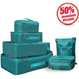 Joyoldelf Travel Essential Bags-in-Bag Packing Cubes, Set of 7 Travel Luggage Organisers Suitcase Storage Bags ( Blue )