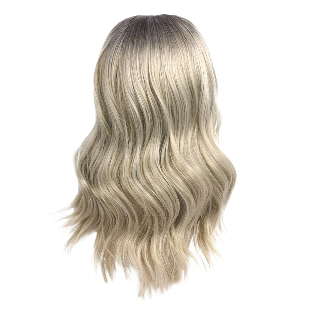 Hot Sale! Blonde Wigs,Women Fashion Gold Synthetic Hair Extension Long Wave Curly Wig Hairpiece (A)