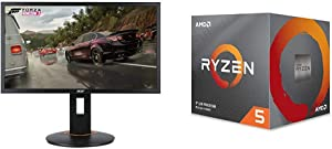 Acer XFA240 bmjdpr 24%22 Gaming G-SYNC Compatible Monitor 1920 x 1080, 144hz Refresh Rate, Pivot, Swivel & Tilt, Black & AMD Ryzen 5 2600 Processor with Wraith Stealth Cooler