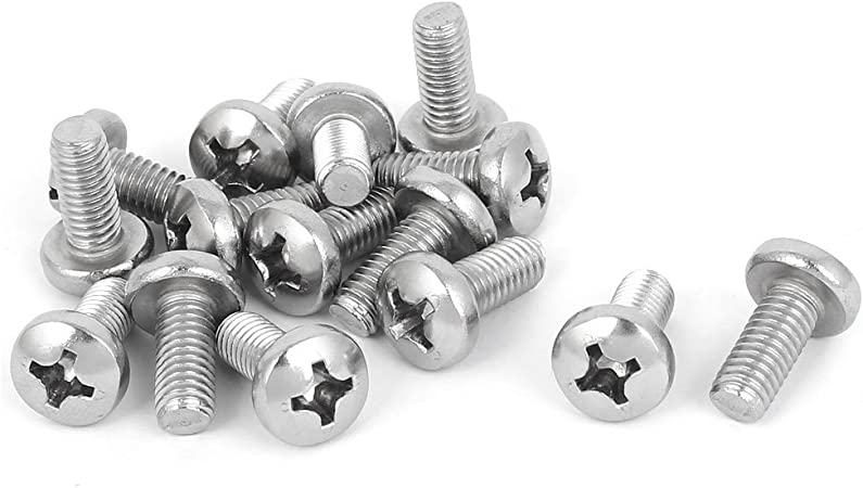 uxcell M6x14mm 316 Stainless Steel Phillips Pan Head Machine Screws 12pcs
