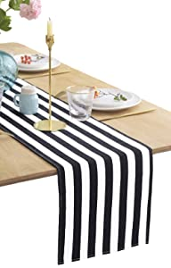 "BOXAN Classical Durable Black and White Striped Table Runner - 13"" x 108"" / 9FT, Cotton Modern Style Stripe Table Cloth for Wedding Party Dinner Table Decor"
