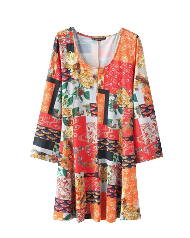 SaiDeng Damen Blume Gedruckt Horn Hülse Taille Feiertags-Kleid