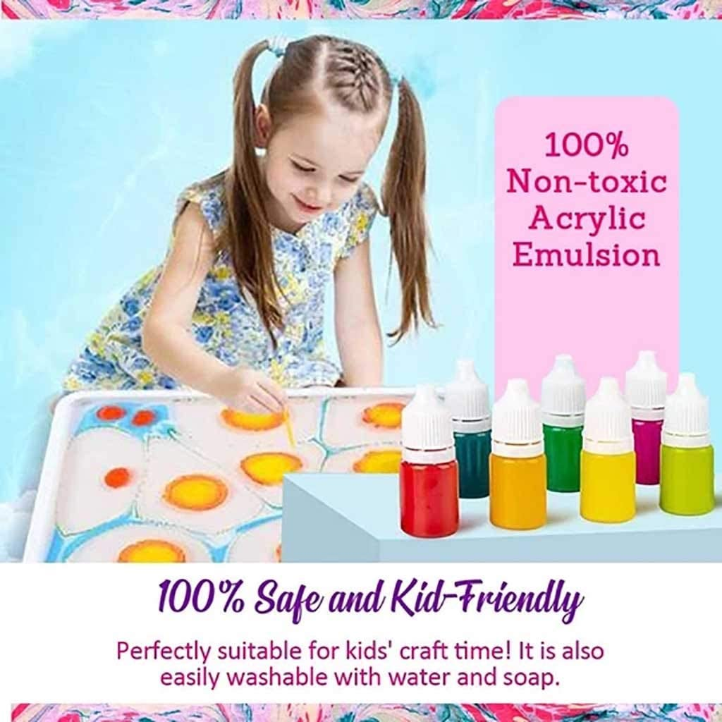 Multicolor Mifelio Marbling Painting Kit DIY,Non-Toxic Painting on Water Creative Marbling Art for Children of 6 Colors