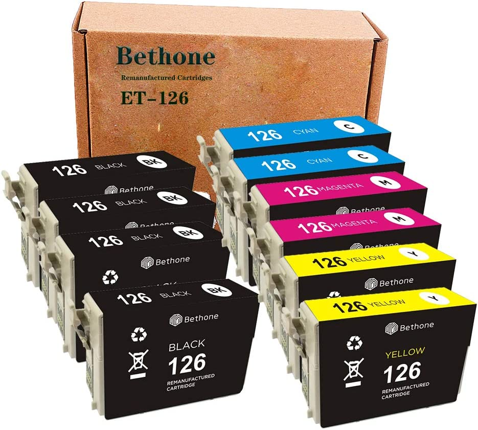 Bethone Remanufactured Ink Cartridges Replacement for Epson 126 T126 to use with Workforce 545 845 630 645 840 633 635 520 WF-3520 WF-3540 Stylus NX430, 10 Pack