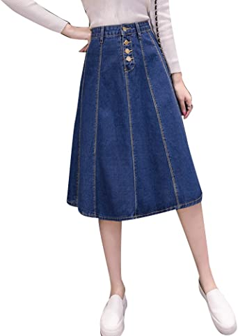 ZhuiKun Mujeres Vintage Falda de Mezclilla Denim Vaquera Faldas ...