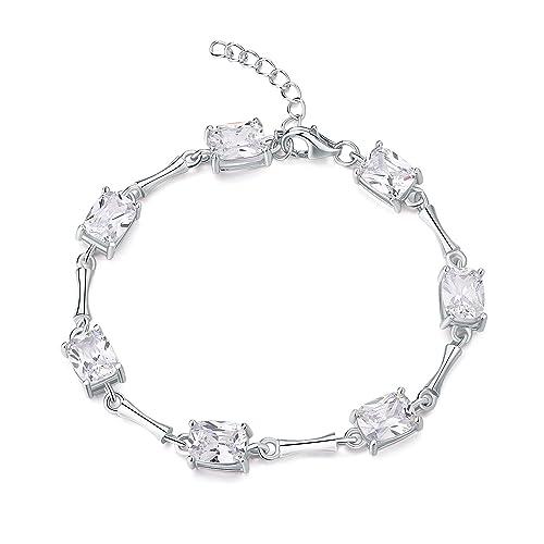 6da1bab4dfe5 Diamond Treats Pulsera de Plata de Ley 925 de Mujer con Circonitas ...