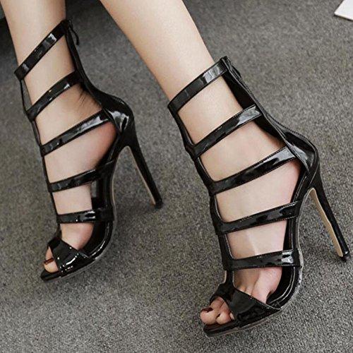 Verano mujer altos aguja Tacón GAOLIXIA Negro PU de Tacones Blanco Zapatos de nuevas Sandalias Black Cómodo t5wqAxfWn