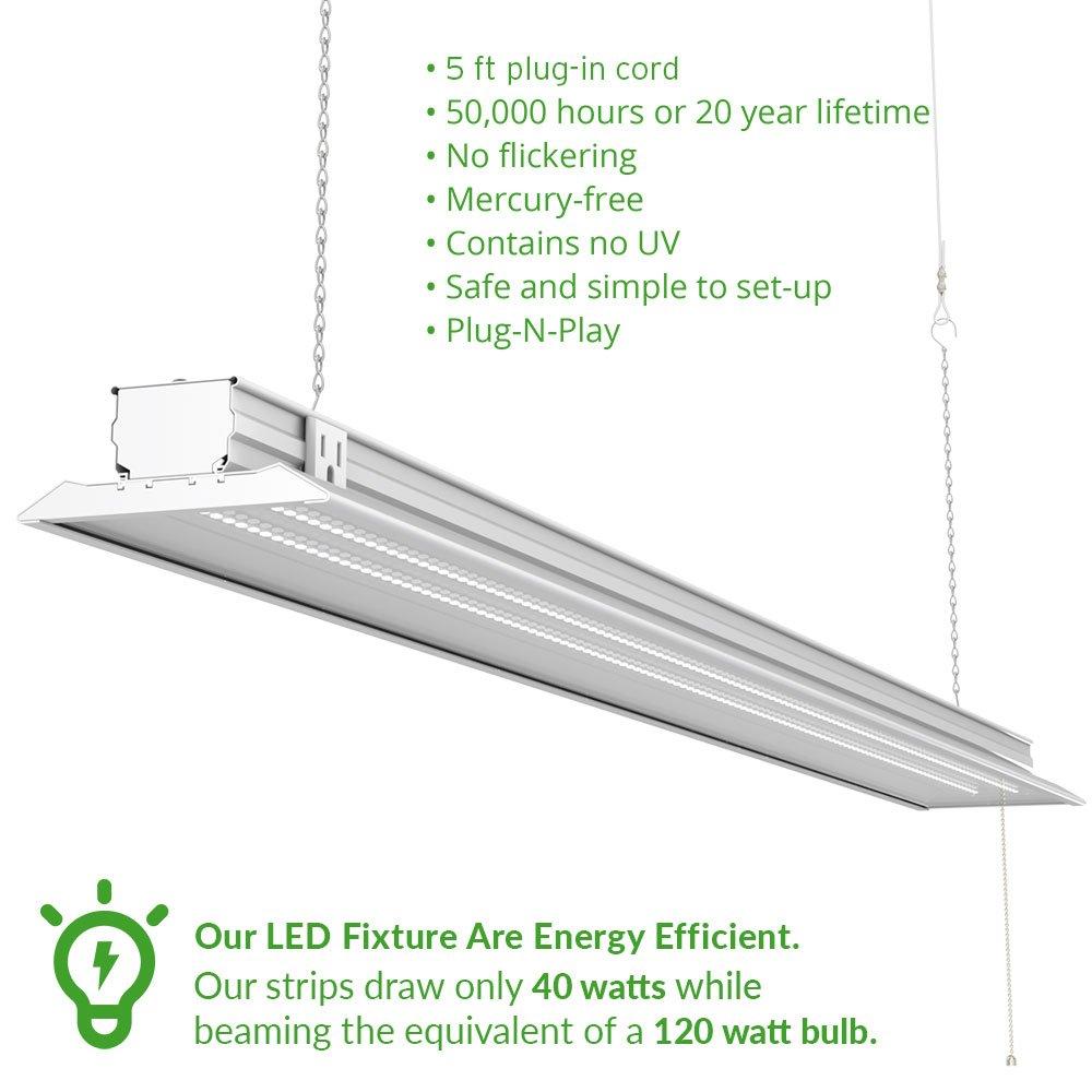 Sunco Lighting 10 PACK - ENERGY STAR 4ft 40W LED Utility Shop Light FLAT DESIGN 4500lm 120W Equivalent, LED Fixture, 5000K Daylight Ceiling Light, Garage/Basement/Workshop, Linkable, ETL, Clear by Sunco Lighting (Image #3)