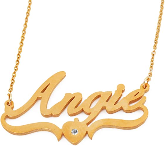18ct Gold Plated Zacria Angela Custom Name Necklace Personalized