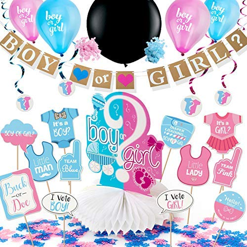 ARTIT Gender Reveal Party Decoration Supplies Baby Shower Pregnancy Announcement Kit 34 Pack Boy or Girl Favors Banner Centerpiece Pink & Blue 36' Black Confetti Balloon Swirls Tablecloth Photo Props -
