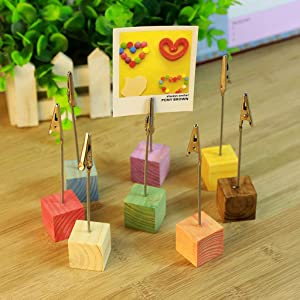 ZERIRA 8 Pcs Log Base Memo Clip Holder Stand with Alligator Clasp, Table Number/Pictures/Photoes/Name Card/Paper Note Holder for Home Office Wedding Table Arrange, Multi-Color