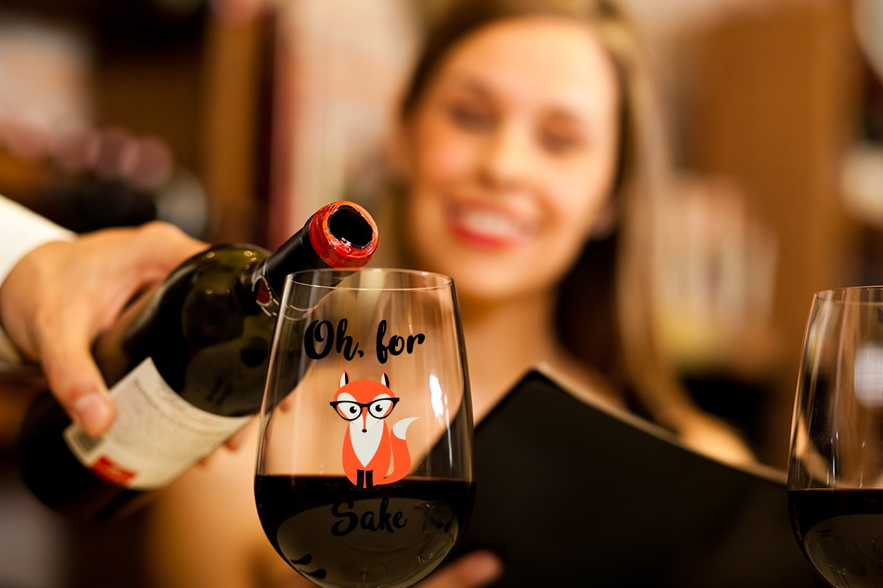 Oh, For Fox Sake 15 oz Stemless Funny Wine Glass | Unique Fox Themed Birthday Gifts For Men or Women | Fox Lover Gifts For Him or Her Idea For Office Coworker and Best Friend by Gelid (Image #4)