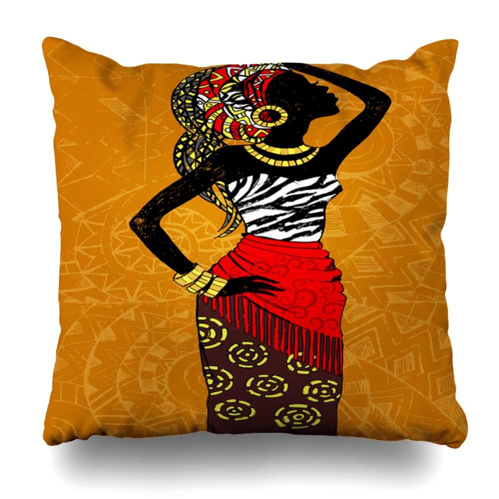 Ahawoso クッションカバー 正方形 20x20インチ ブルー ブラック メーカー公式 アフリカ B07RCD3PR1 ホームデコレーション枕カバー エスニック オレンジ 女の子用 高級 アメリカン 抽象的な編み紐