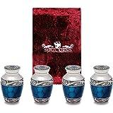 Funeral Keepsake Urns By Soul Urns - Blue Small Mini Cremation Keepsake Urns for Human Ashes - Set of 4 - Includes Superb Velvet Urn Case