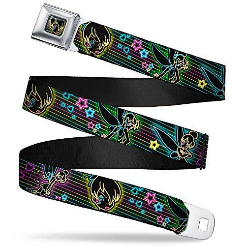 (Buckle-Down Seatbelt Belt - Electric Tinkerbell Poses/Stripes Black/Multi Neon - 1.0