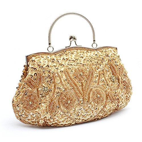 Golden Gift Clutch TopTie Flower Idea Large Handbag Beaded q8Paf8