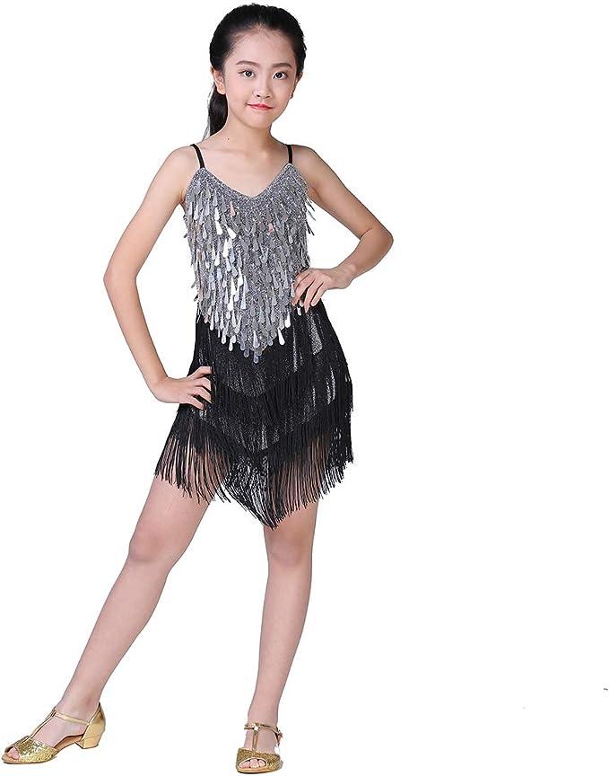 Agoky Kids Girl Sparkling Dance wear Costumes Tassel Latin Rumba Salsa Cha Cha Tango Ballroom Dance Dress Tops /& Skirt