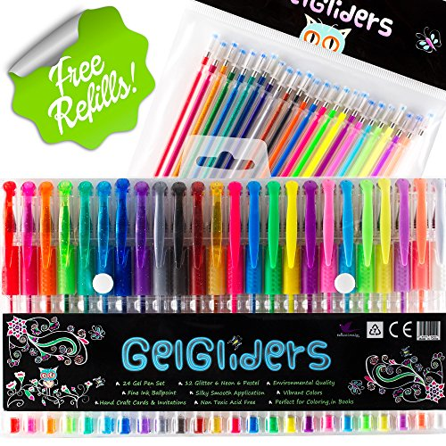 Gel Pens | Rainbow Pack by Gel Gliders | 24 Colors plus 24 G