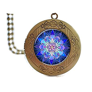 Collar con colgante de Mandala, Mandala Arte relajante azul ...