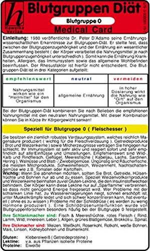 Blutgruppen Diät - Blutgruppe A - Medical Card