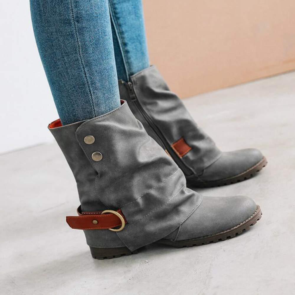 CITW Herbst Damenstiefel Farbe Gürtel Schnüffeln Große Kurze Stiefel Stiefel Stiefel Ritter Stiefel Warme Stiefel,grau,UK2 EUR36 d05e3f