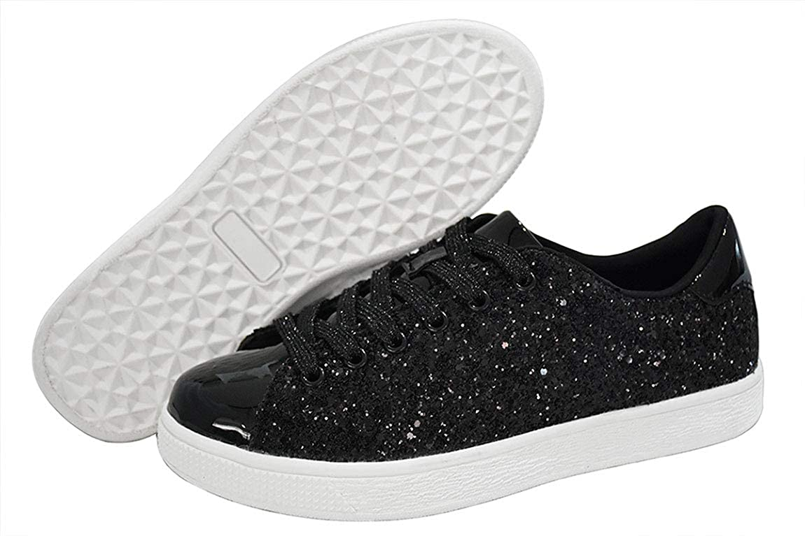 6c03ab1afc LUCKY STEP Glitter Sneakers Lace up | Fashion Sneakers | Sparkly Shoes for  Women