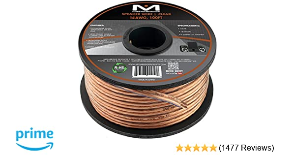 Amazon.com: Mediabridge 14AWG 2-Conductor Speaker Wire (100 Feet ...