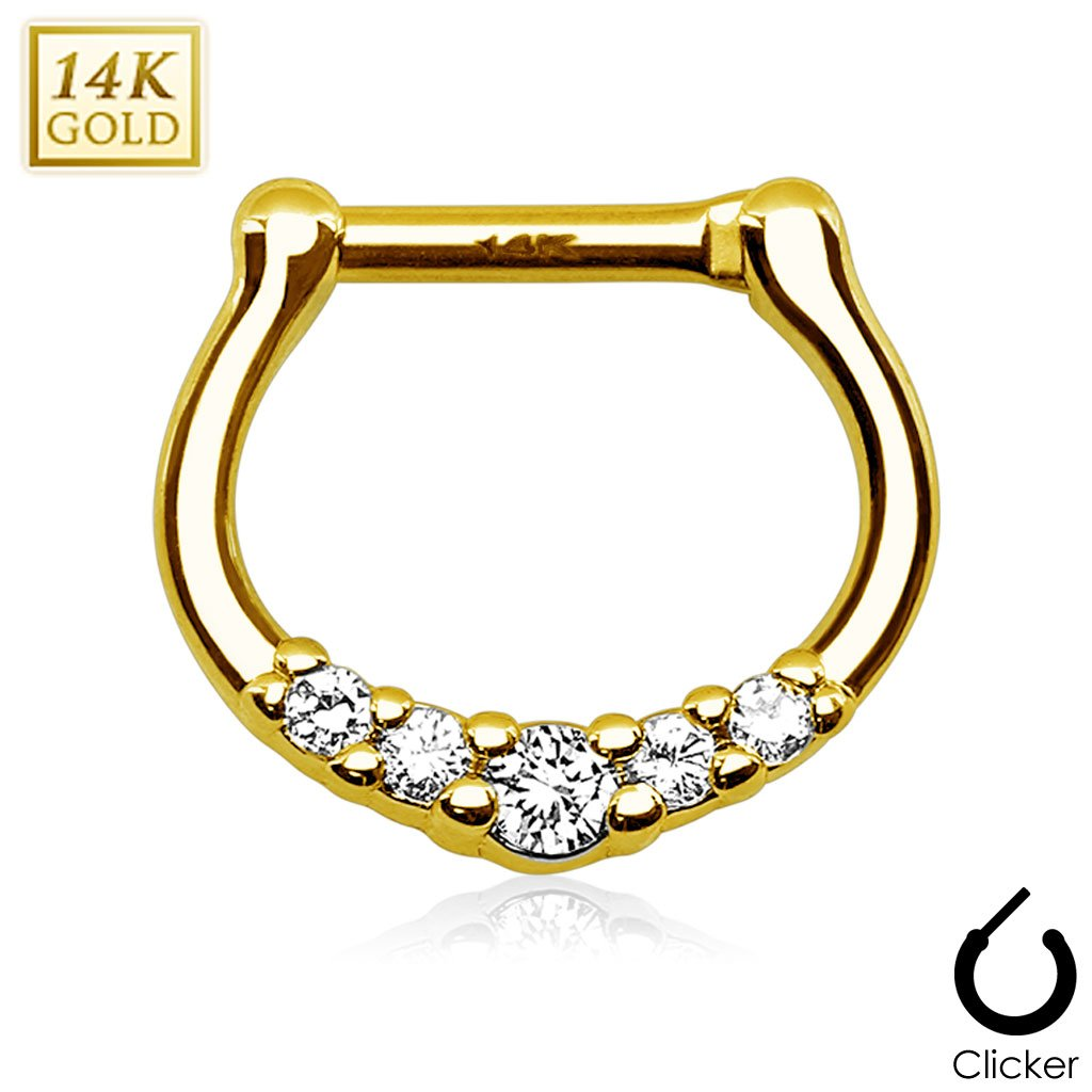West Coast Jewelry {16 GA} Five CZ Paved 14Kt Gold Septum Clicker (Sold Individually) - Yellow Gold - 16 GA