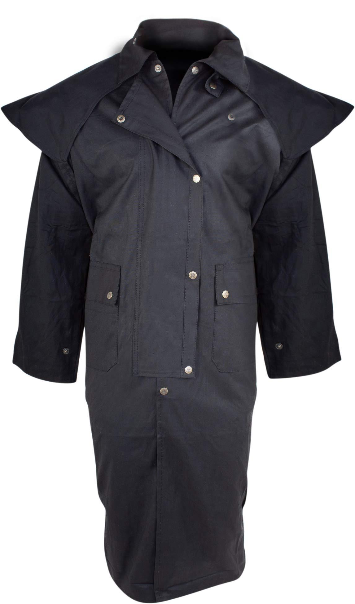 AceRugs Long Black Mens Oil Cloth Oilskin Western Australian Waterproof Duster Coat Jacket Heavy Duty Warm Tough