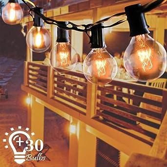 Cadena de luces para exterior, G40, 9,6 m, IP65, resistente al agua, 30 bombillas, guirnalda de luces para jardín, Navidad, boda, fiesta, decoración exterior, blanco cálido: Amazon.es: Iluminación