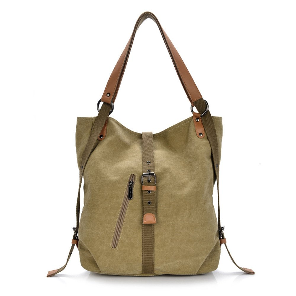 Esimen Fashion Women Shoulder Bag Convertible Backpack Purse Ladies Casual Rucksack Canvas Bag Handbag(Khaki)