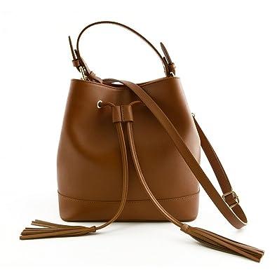 Bolso De Mano En Piel Para Mujer Color Cognac - Peleteria Echa En Italia - Bolso Mujer: Amazon.es: Zapatos y complementos