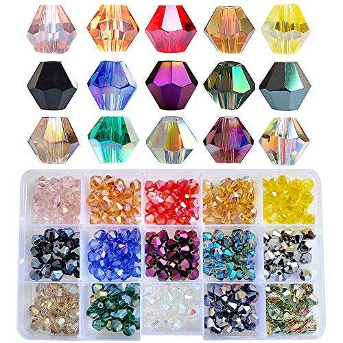 Chengmu 8mm Bicone Glass Beads for Jewelry Making 375pcs AB Colour Faceted Shape Colourful Crystal Spacer Beads Assortments Supplies Accessories Tools for Bracelets Necklaces with Elastic Cord
