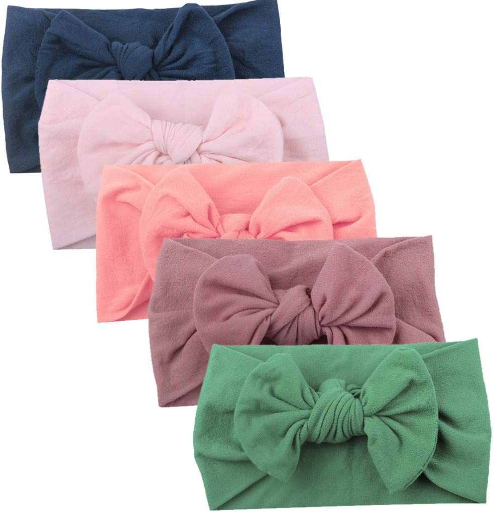 AKIWOS Toddler Baby Girl Headbands Baby Hair Accessories for Newborn Girls Bow Elastics Headwraps 5PCS