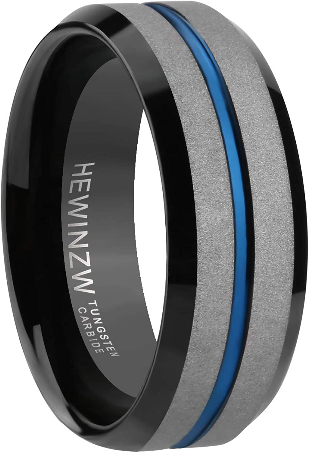 HEWINZW Tungsten Ring Men 7mm Blue Grooved Design Beveled Edge Engagement Wedding Band Comfort Fit Size 7-13