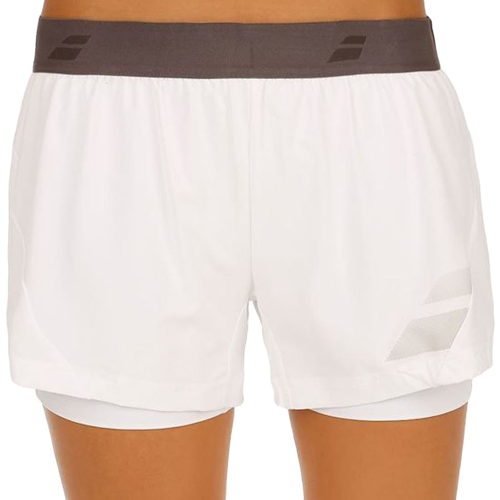 Babolat Womens Core Performance Tennis Dual Layer Shorts - Whi - S
