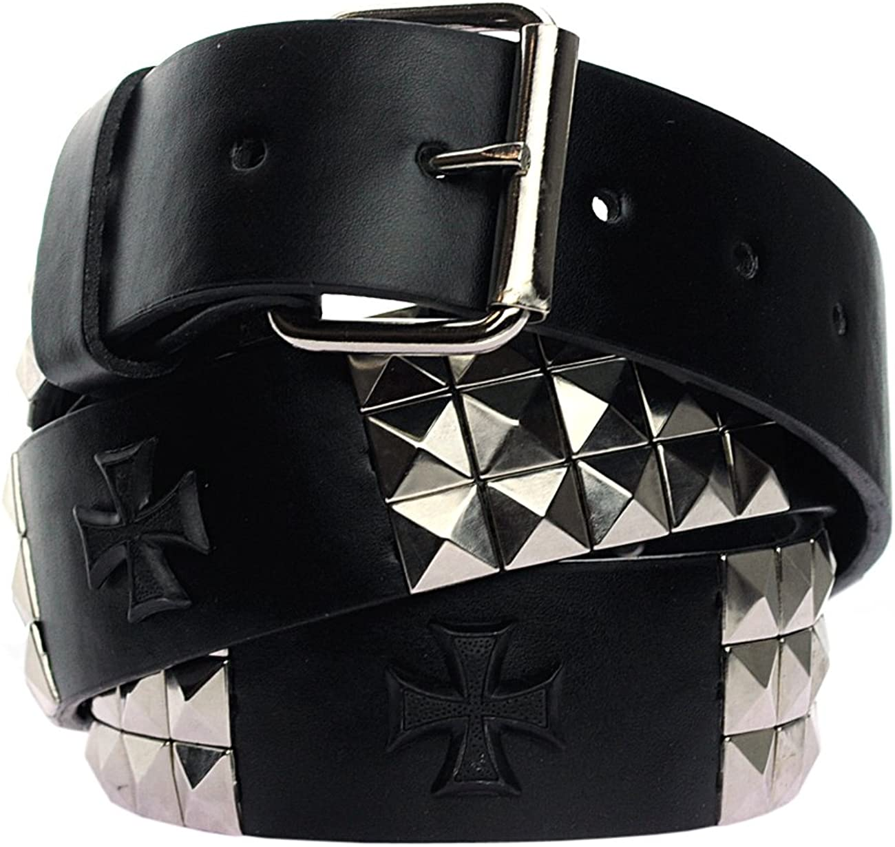 NYFASHION101 Snap On 80s Style Pyramid Stud Faux Leather Belt w//Gothic Cross