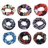 9-Pack Tsmine Multifunction Outdoor Sport Seamless Breathable Magic Scarf High Elastic Magic Headband & Collars Muffler Scarf Face Mask Headscarves, Headband