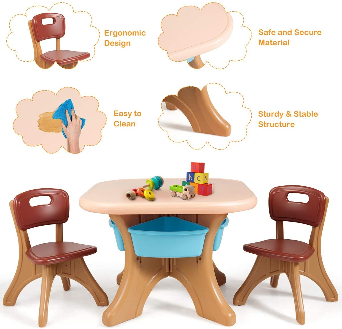 Childrens Art and Activity Desk and Chair Set with Detachable Storage Bins