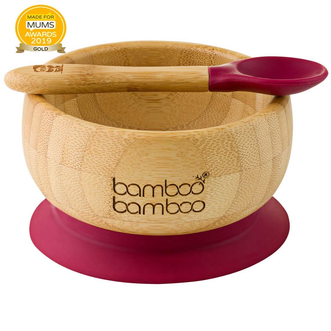 aus naturbelassenem Bambus Standfeste Saug-F/ütter-Sch/üssel Baby Saugnapf-Sch/üssel mit passendem L/öffelset