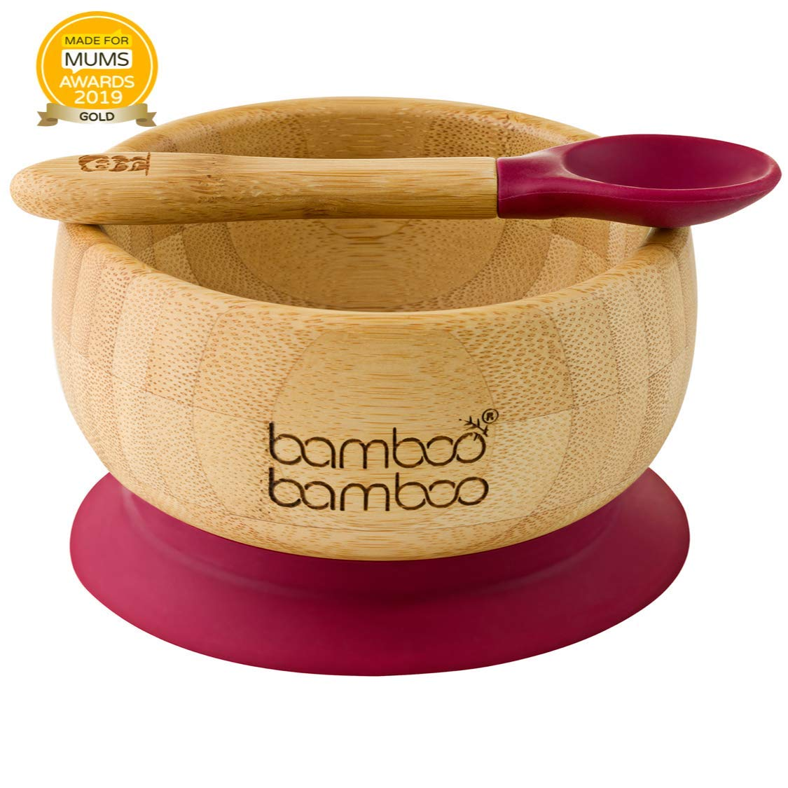 Baby Suction Bowl and Matching Spoon Set, Suction Stay Put Feeding Bowl, Natural Bamboo (Cherry) by bamboo bamboo