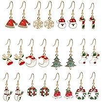 4-12 Pairs Christmas Snowflake Jingle Bell Earrings for Women Girls Ball Star Reindeer Elk Santa Claus Snowman Dangle Christmas Earrings Xmas Party Favors Christmas Decorations Supplies