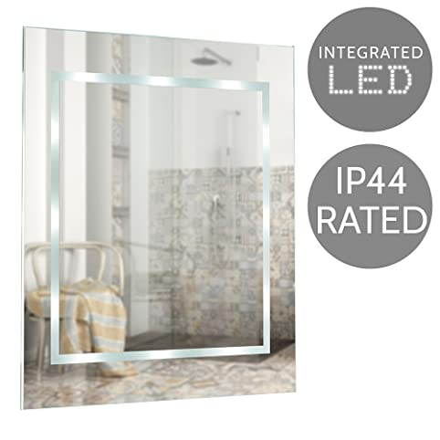 modern slim led battery operated rectangular design bathroom mirror ip44 rated