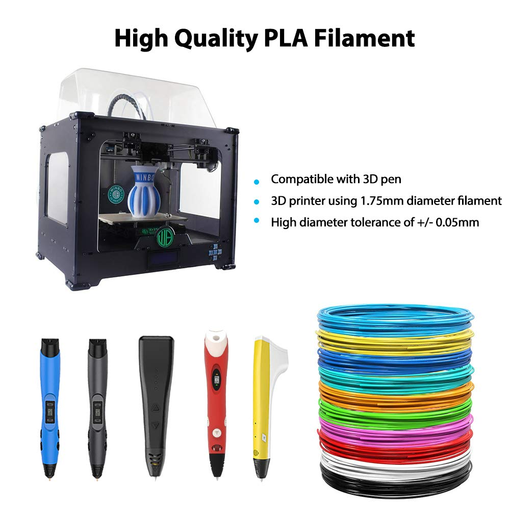 Tecboss 3D Pen//3D Printer Filament Each Color 16 Feet Total 330 Feet Lengths Bonus 4 Glow in The Dark 1.75mm PLA Filament Pack of 20 Different Colors,High-Precision Diameter Filament