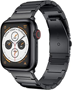 RABUZI Compatible for Apple Watch Band 44mm/42mm, Stainless Steel Metal Watch Replacement Bands Compatible for Apple Watch Series 5/4/3/2/1 Smartwatch, Black
