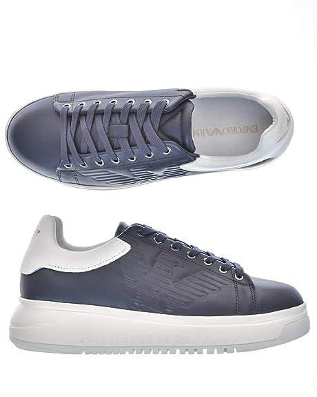 Emporio Armani - Zapatillas de Cuero para Hombre * * Azul ...