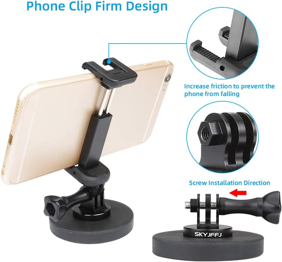 Rubber Coated Magnet Mount for GoPro Hero Cameras or Phone; Fitness Streams at Home Adjustable Phone Mount. or Gym Livestream Gear