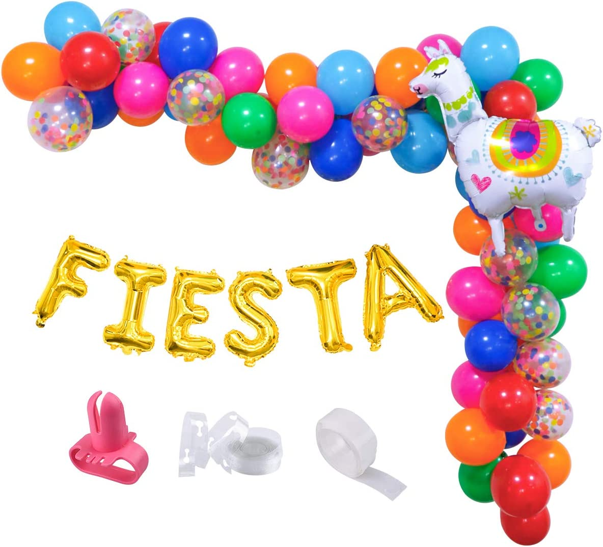 Fiesta Balloon Garland Arch Kit,Mexican Cinco de Mayo Baby Shower Balloon Decoration Set,Colorful Confetti Balloons with Llama Foil Balloons for Fiesta Birthday Party,Coco Party,Taco Party Decor