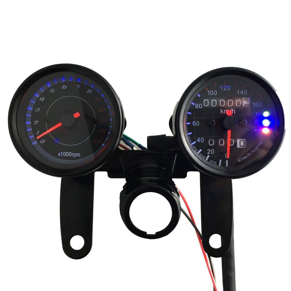 KKmoon 12 V Moto 13000 RPM Tachimetro Km/h doppio contatore chilometrica Misuratore con retroilluminazione LED Fuochi di segnalazione
